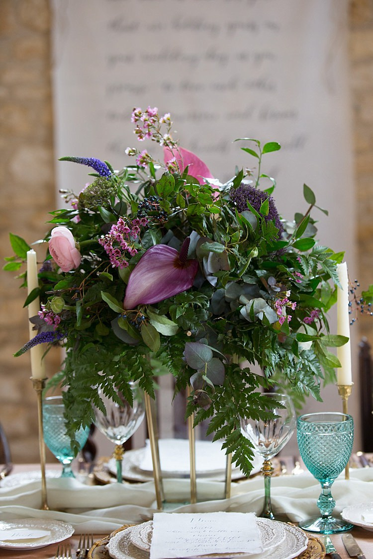 Purple Green Flowers Table Centrepiece Greenery Foliage Chic Secret Garden Wedding Ideas http://marysmithphotography.com/