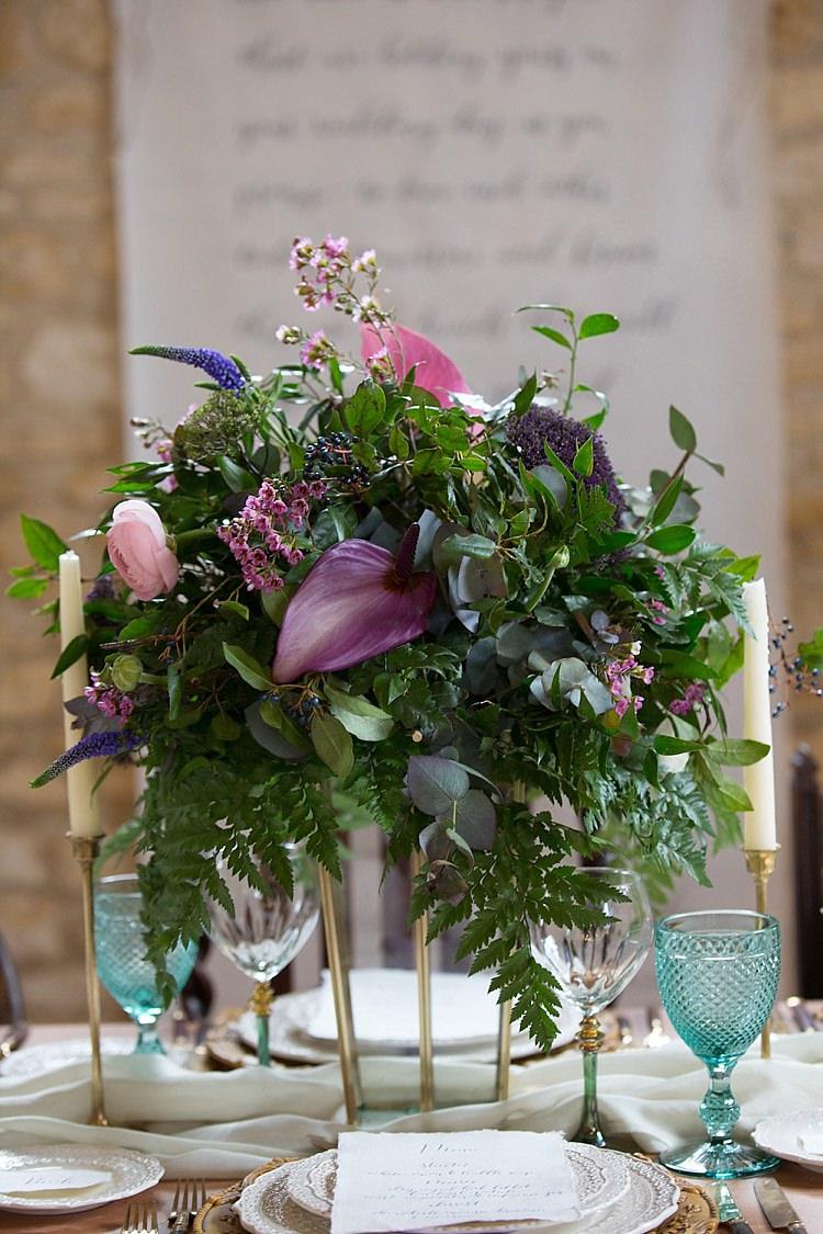 Purple Green Flowers Table Centrepiece Greenery Foliage Chic Secret Garden Wedding Ideas http://marysmithphotography.com/