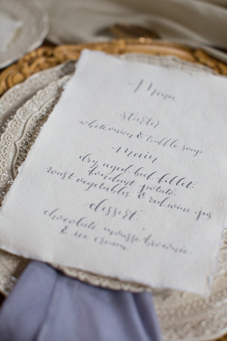 Calligraphy Menu Table Chic Secret Garden Wedding Ideas http://marysmithphotography.com/
