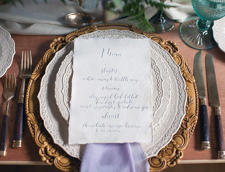 Place Setting Calligraphy Plates China Chic Secret Garden Wedding Ideas http://marysmithphotography.com/