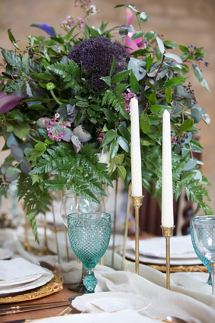 Tablescape Decor Chairs Flowers Candles Purple Green Chic Secret Garden Wedding Ideas http://marysmithphotography.com/