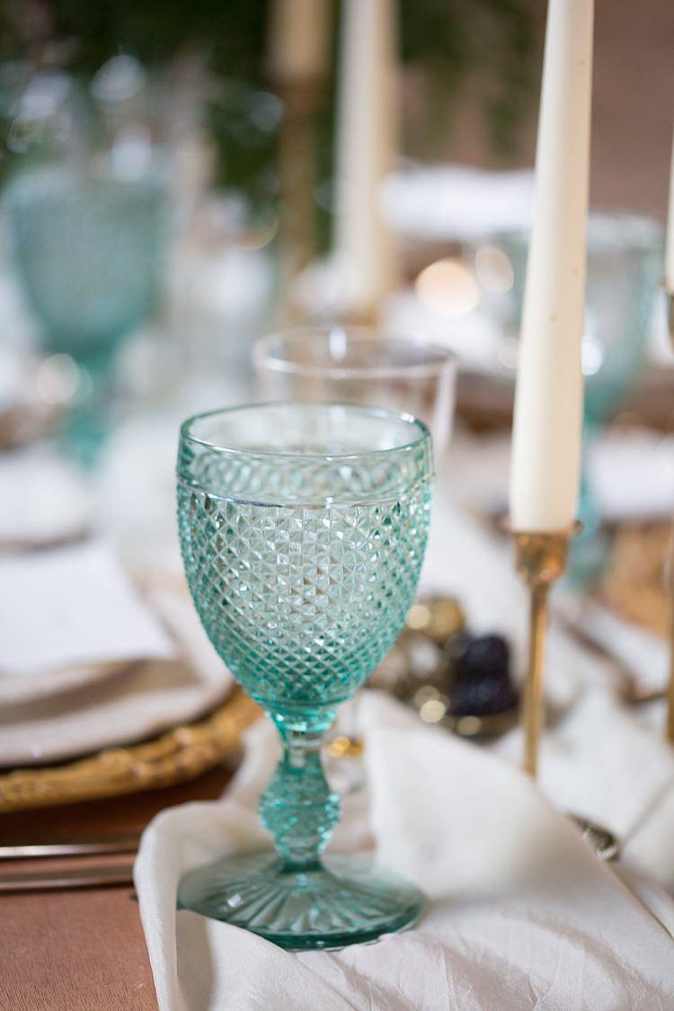 Blue Glasses Table Decor Chic Secret Garden Wedding Ideas http://marysmithphotography.com/