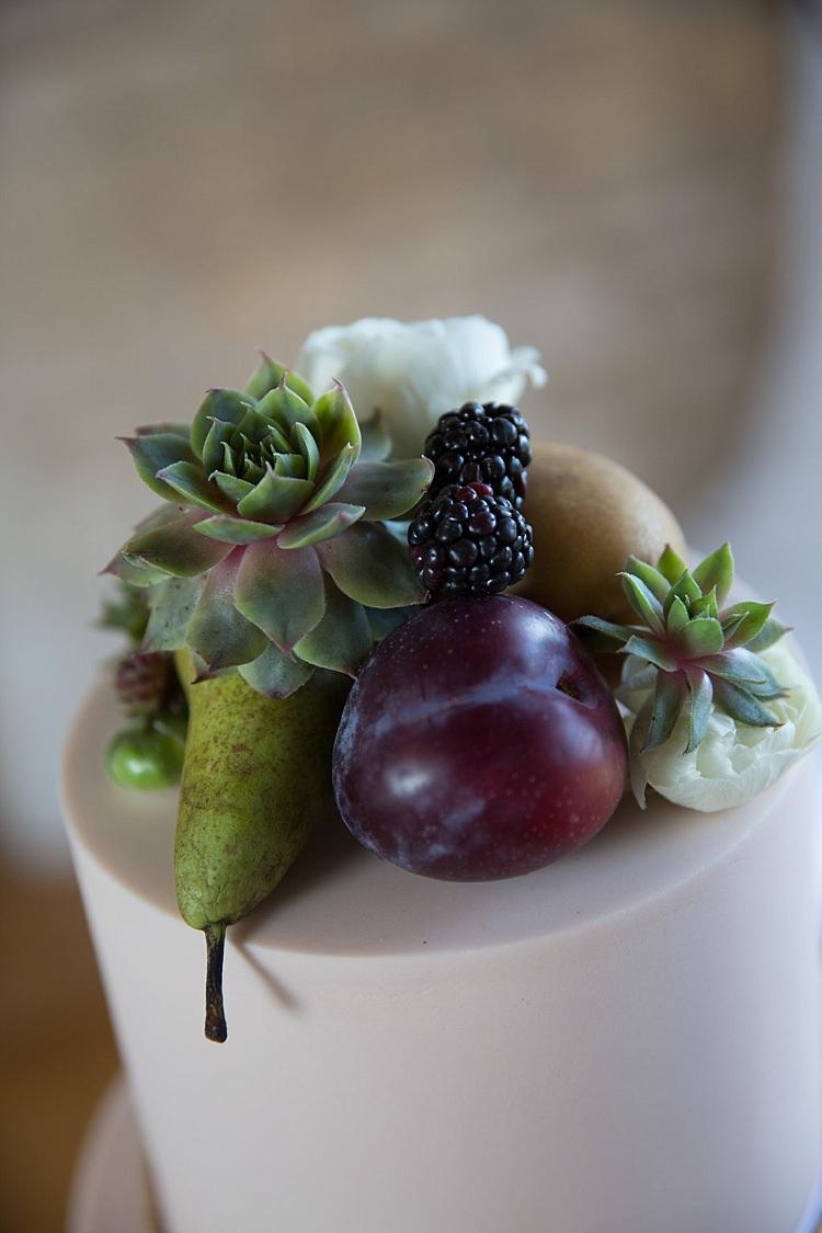Fruit Flowers Cake Topper Succulent Chic Secret Garden Wedding Ideas http://marysmithphotography.com/