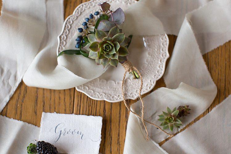 Succulent Buttonhole Groom Twine Chic Secret Garden Wedding Ideas http://marysmithphotography.com/