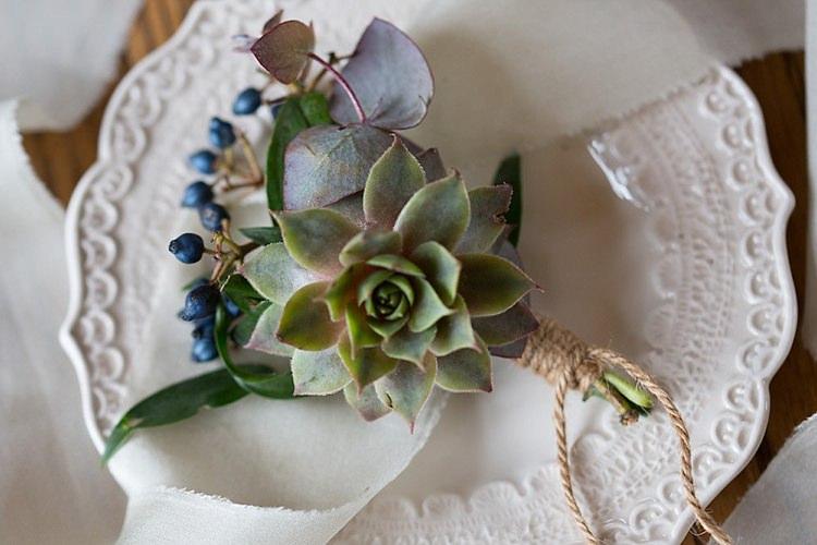 Succulent Berry Buttonhole Groom Chic Secret Garden Wedding Ideas http://marysmithphotography.com/