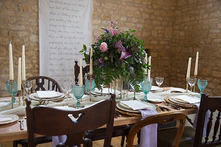 Tablescape Decor Chairs Flowers Candles Purple Green Chic Secret Garden Wedding Ideas http://marysmithphotography.com/