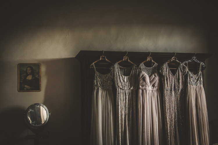 Bridesmaids Mismatched Neutral Dusty Pink Mismatched Dresses Romantic Intimate Tuscany Destination Wedding http://angelicabraccini.com/