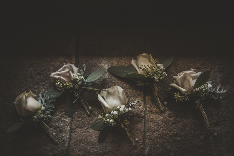 Buttonholes Cream Dusty Pink Roses Romantic Intimate Tuscany Destination Wedding http://angelicabraccini.com/
