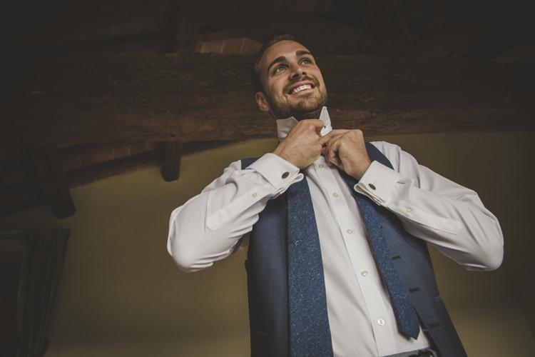 Groom Light Blue Suit Vest White Tie Textured Blue Tie Romantic Intimate Tuscany Destination Wedding http://angelicabraccini.com/
