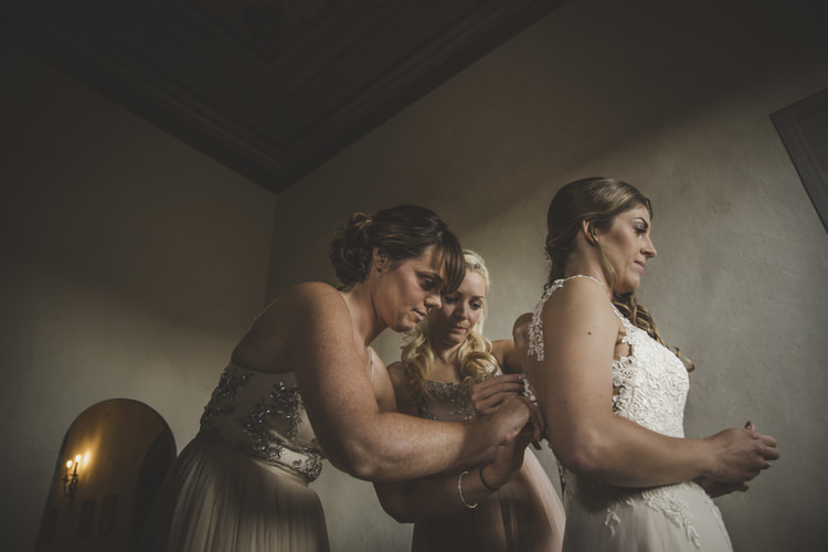Bride Lace Tulle Stella York Bridal Gown Bridesmaids Dusty Pink Neutral Mismatched Dresses Romantic Intimate Tuscany Destination Wedding http://angelicabraccini.com/
