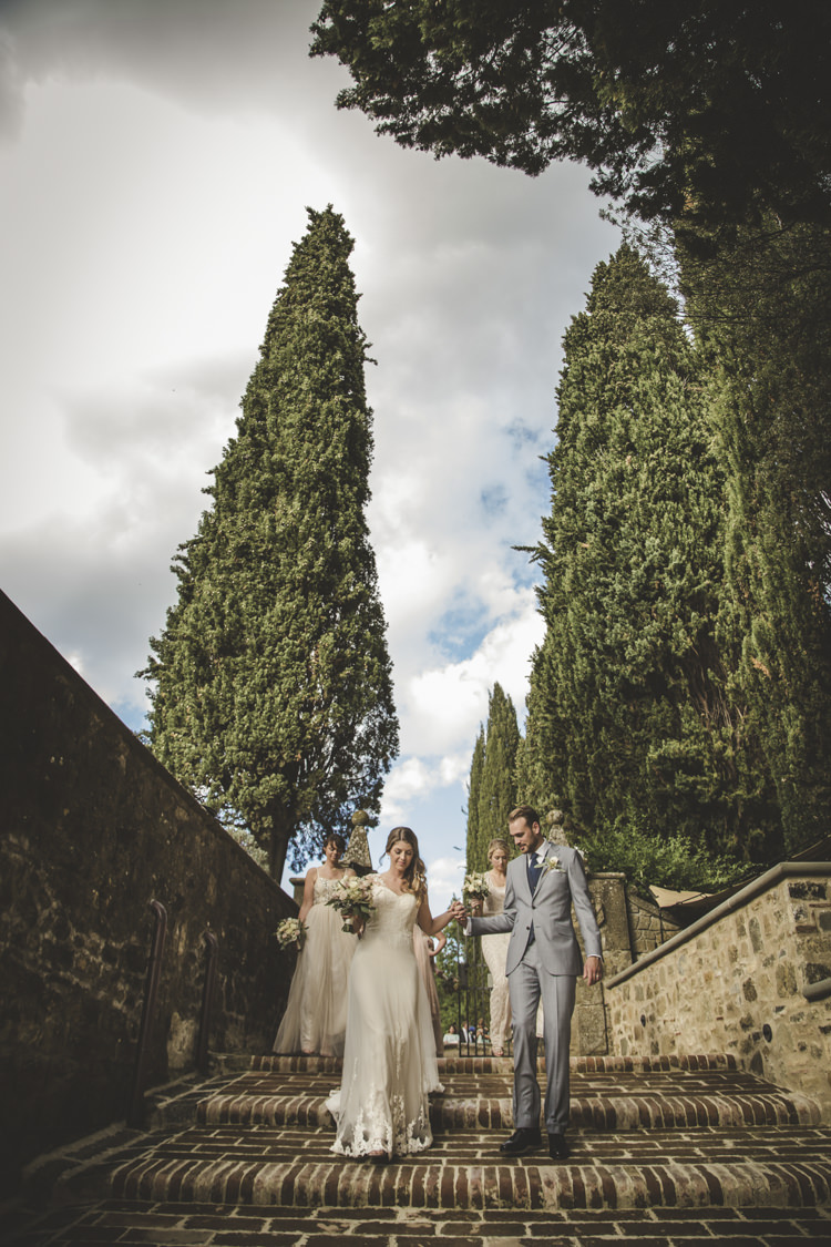 Bride Lace Tulle Stella York Bridal Gown Groom Light Blue Suit White Shirt Textured Blue Tie Bridesmaids Dusty Pink Neutral Dresses Romantic Intimate Tuscany Destination Wedding http://angelicabraccini.com/