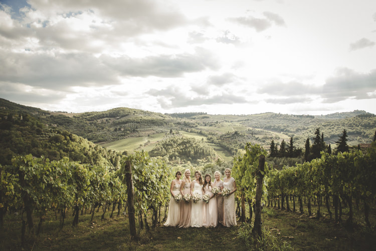 Bride Lace Tulle Stella York Bridal Gown Bridesmaids Dusty Pink Neutral Mismatched Dresses Vineyard Romantic Intimate Tuscany Destination Wedding http://angelicabraccini.com/