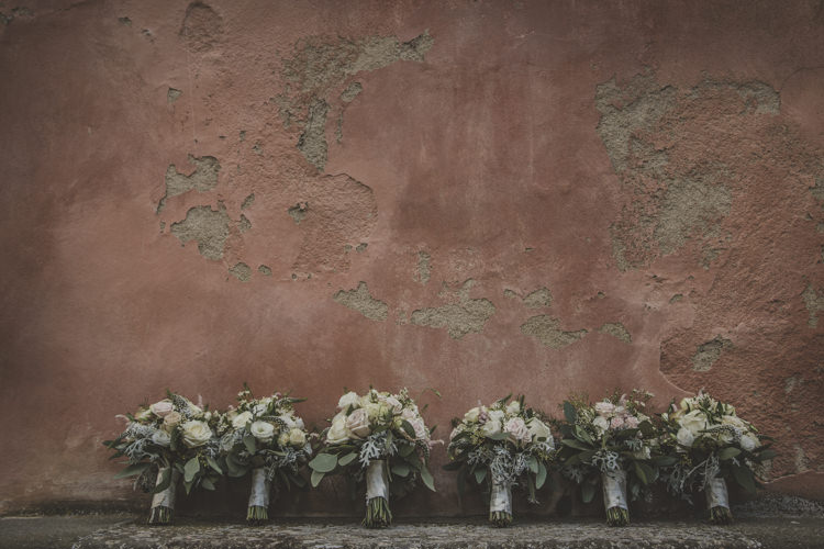 Bride Bridesmaid Bouquets White Pink Neutral Roses Historic Pink Villa Romantic Intimate Tuscany Destination Wedding http://angelicabraccini.com/