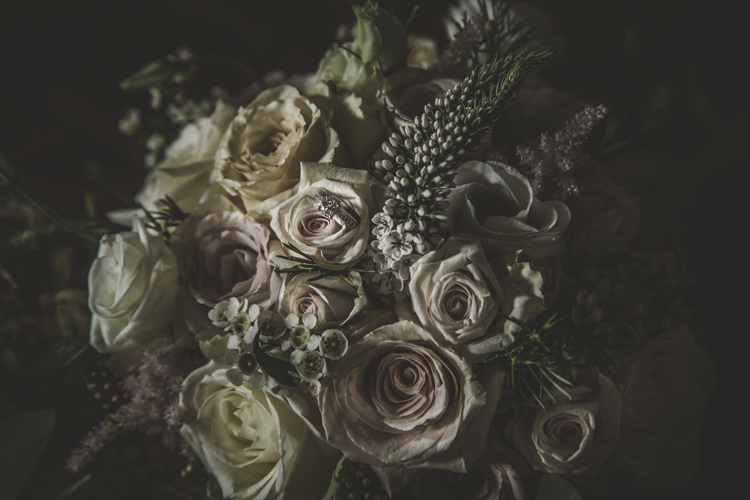 Bride Bouquet Dusty Pink White Cream Roses Romantic Intimate Tuscany Destination Wedding http://angelicabraccini.com/