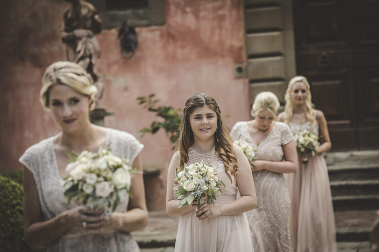 Outdoor Ceremony Bridesmaids Dusty Pink Neutral Mismatched Dresses Bouquet Roses Historic Pink Villa Romantic Intimate Tuscany Destination Wedding http://angelicabraccini.com/