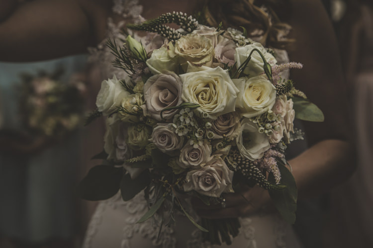 Bride Bouquet White Dusty Pink Roses Romantic Intimate Tuscany Destination Wedding http://angelicabraccini.com/