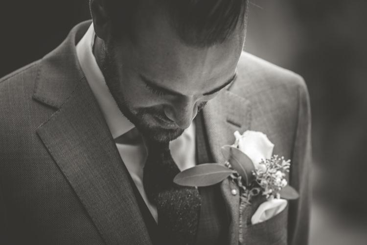 Groom Light Blue Suit White Shirt Textured Blue Tie Rose Buttonhole Romantic Intimate Tuscany Destination Wedding http://angelicabraccini.com/