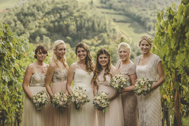 Bride Lace Tulle Stella York Bridal Gown Bridesmaids Dusty Pink Neutral Mismatched Dresses Bouquets White Pink Roses Vineyard Romantic Intimate Tuscany Destination Wedding http://angelicabraccini.com/
