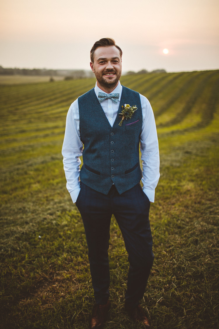 Waistcoat Bow Tie Trousers Groom Style Outfit Powder Blue Country Rustic Charm Wedding https://photography34.co.uk/