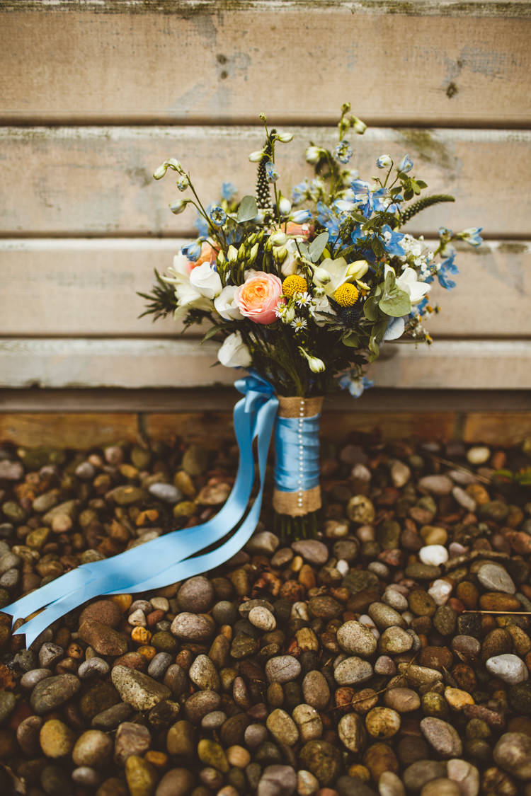 Bouquet Flowers Bride Bridal Roses Foliage Ribbon Powder Blue Country Rustic Charm Wedding https://photography34.co.uk/