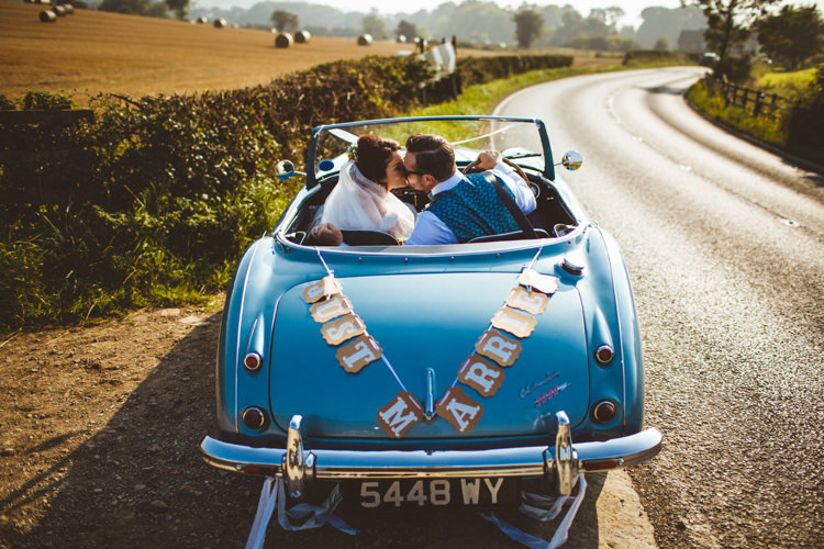 Just Married Vintage Car Convertable Powder Blue Country Rustic Charm Wedding https://photography34.co.uk/
