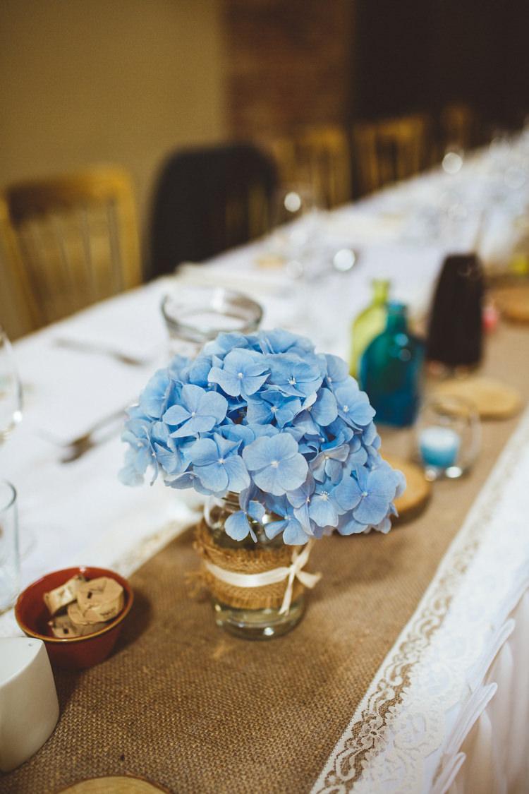 Hydrangea Jar Flowers Lace Hessian Burlap Centrepiece Table Decor Powder Blue Country Rustic Charm Wedding https://photography34.co.uk/