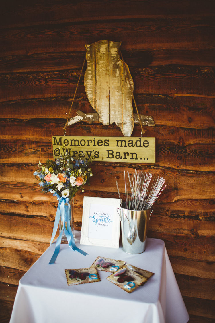 Sparklers Table Station Bar Powder Blue Country Rustic Charm Wedding https://photography34.co.uk/