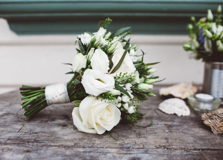 White Rose Bouquet Flowers Bride Bridal Greenery Foliage Low Key Pastel Seaside Wedding http://holliecarlinphotography.com/
