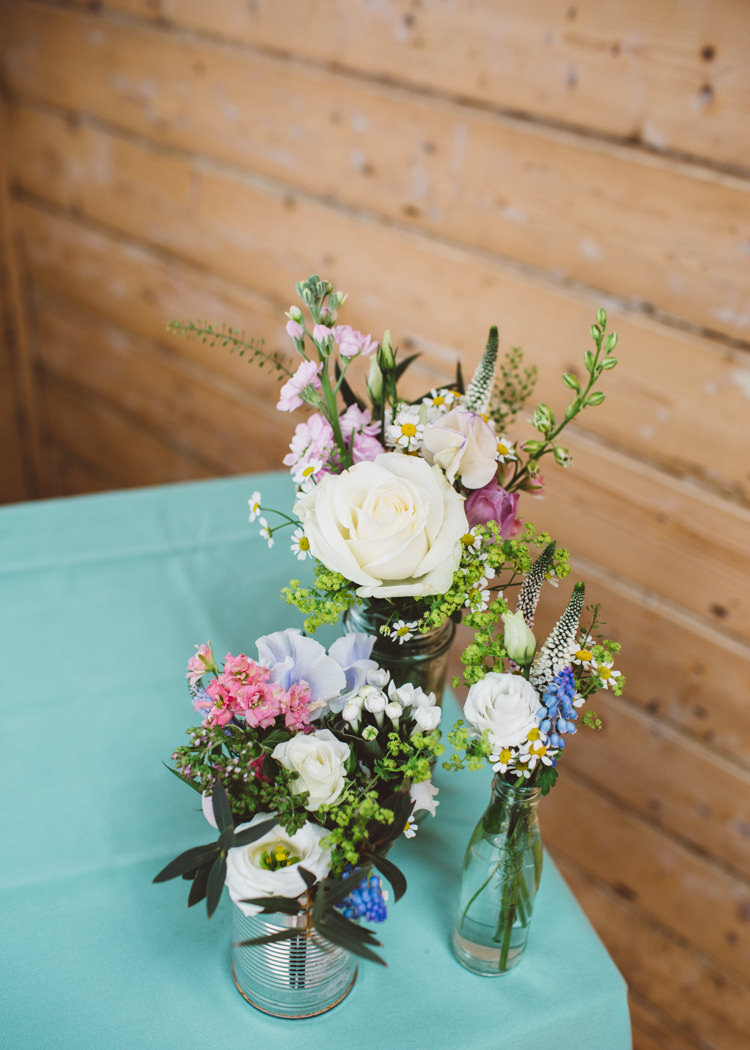 Jar Bottle Tin Can Flowers Decor Low Key Pastel Seaside Wedding http://holliecarlinphotography.com/