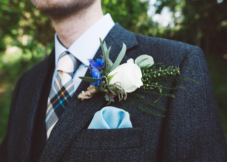 White Rose Buttonhole Groom Low Key Pastel Seaside Wedding http://holliecarlinphotography.com/
