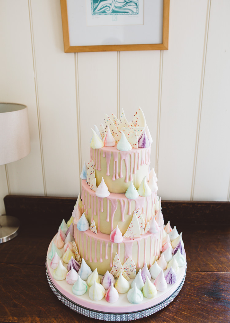 Drip Meringue Cake Pink Modern Low Key Pastel Seaside Wedding http://holliecarlinphotography.com/