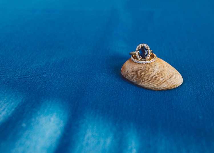 Sapphire Engagement Ring Halo Low Key Pastel Seaside Wedding http://holliecarlinphotography.com/