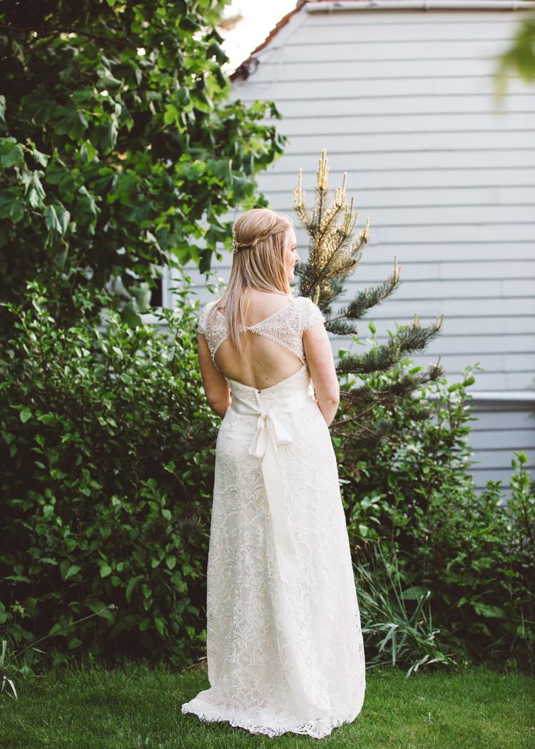 Key Hole Back Dress Bride Bridal Gown Cap Sleeves David's Low Key Pastel Seaside Wedding http://holliecarlinphotography.com/