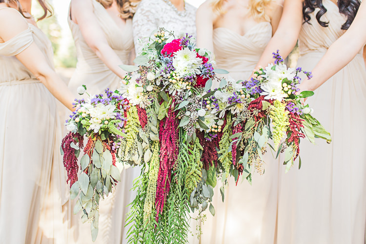 Bride Watters Separates Lace Top Tulle Skirt Cascading Multicoloured Bouquet Bridesmaids Ivory Dresses Different Styles Multicoloured Bouquets DIY Whimsical Camp Wedding California http://www.landbphotography.org/