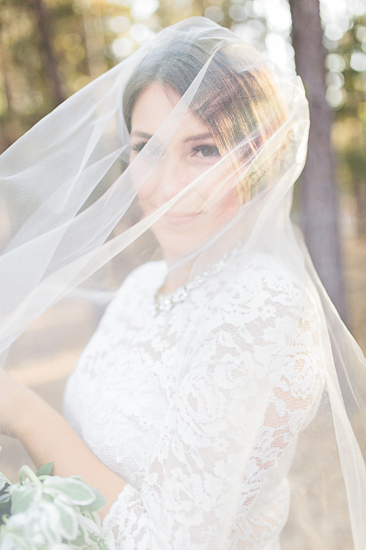 Bride Watters Separates Lace Top Tulle Skirt Veil Statement Necklace DIY Whimsical Camp Wedding California http://www.landbphotography.org/