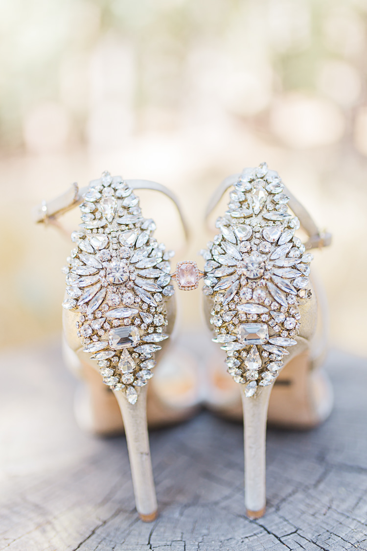 Bride Pink Engagement Ring Statement High Heels Badgley Mischka DIY Whimsical Camp Wedding California http://www.landbphotography.org/
