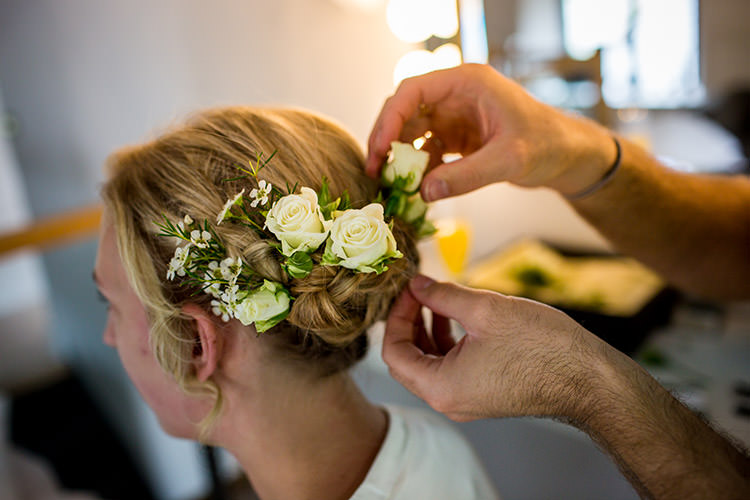 Flowers Hair Bride Bridal Roses Whimsical Greenery Nature Wedding http://lunaweddings.co.uk/