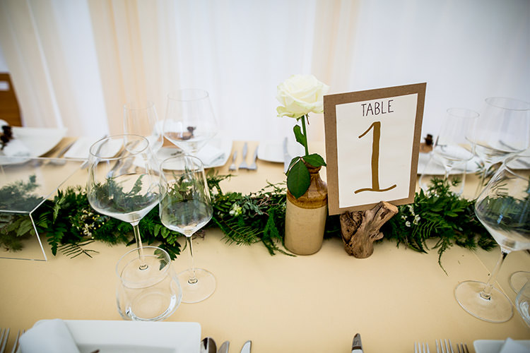 Tables Logs Flowers Garland Foliage Runner Whimsical Greenery Nature Wedding http://lunaweddings.co.uk/