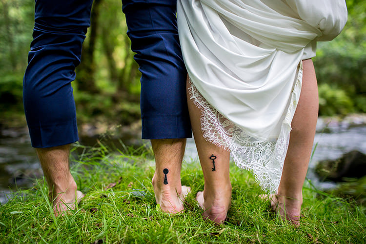 Matching Tattoo Couple Bride Groom Key Lock Whimsical Greenery Nature Wedding http://lunaweddings.co.uk/