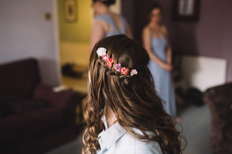 Flowers Hair Curls Waves Bride Bridal Classic Summer Pastel Wedding http://www.catlaneweddings.com/