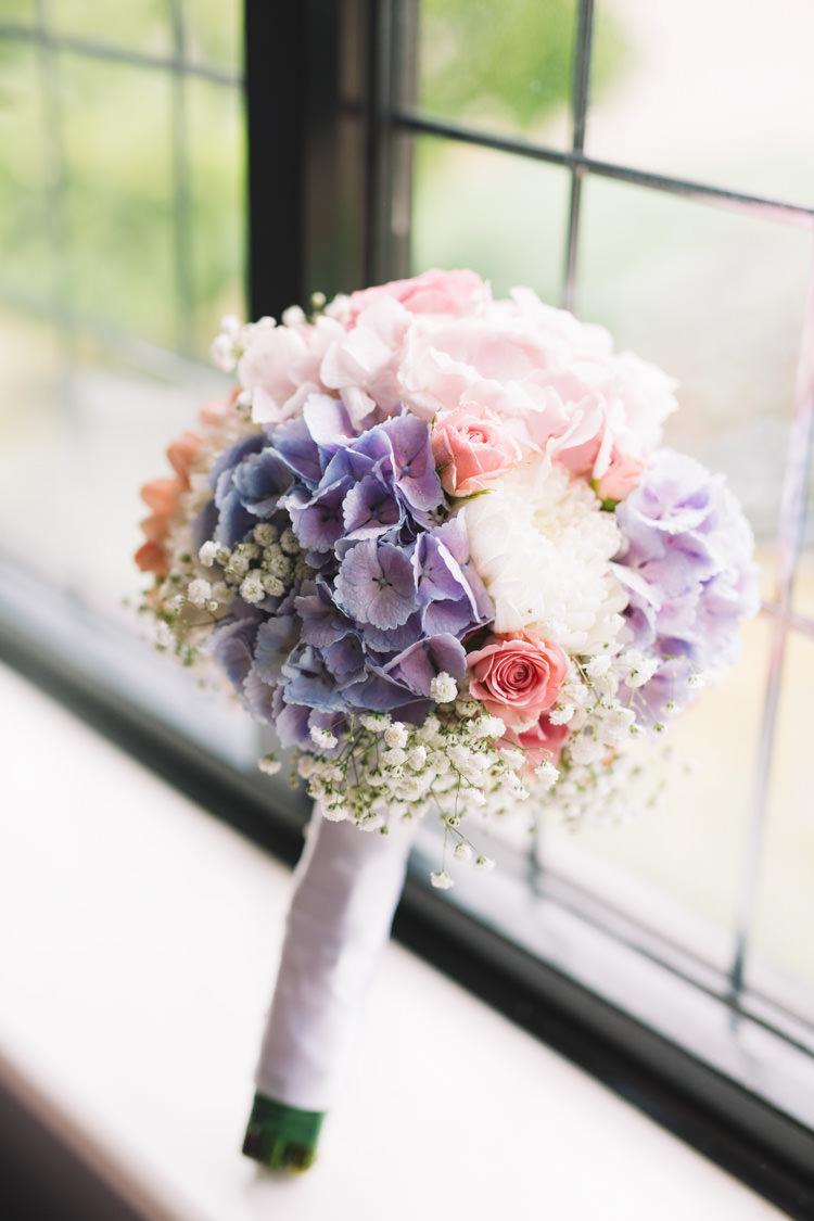 Hydrangea Rose Gypsophila Bouquet Flowers Bride Bridal Classic Summer Pastel Wedding http://www.catlaneweddings.com/