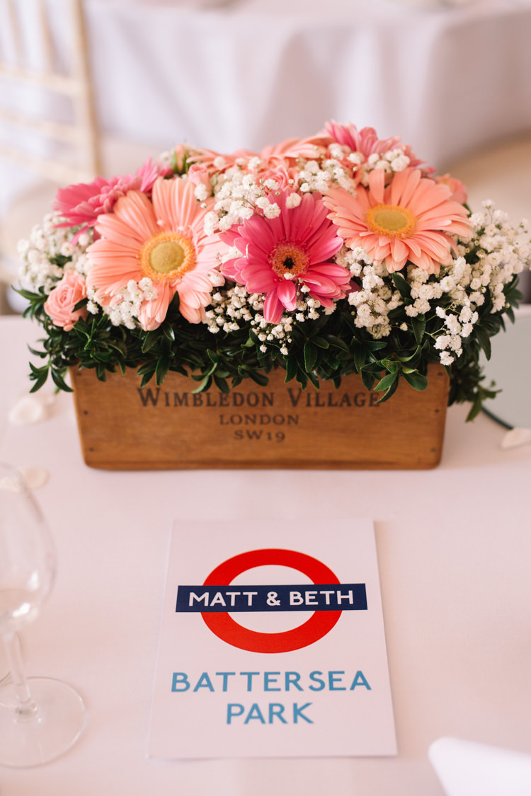 Crate Box Flowers Table Name Underground Tube Train Classic Summer Pastel Wedding http://www.catlaneweddings.com/