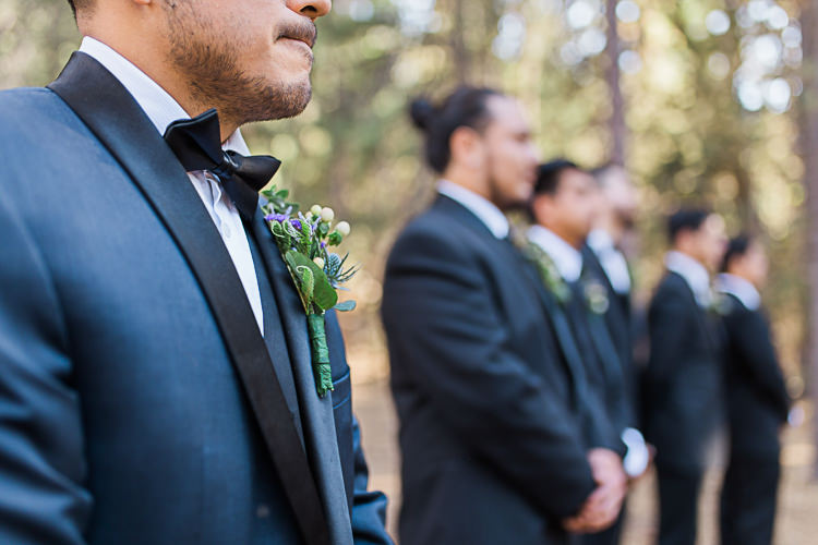 Outdoor Ceremony Groom Dark Blue Jacket Black Satin Lapel Black Bowtie Floral Buttonhole Groomsmen Black Suits Black Bowties Ties DIY Whimsical Camp Wedding California http://www.landbphotography.org/