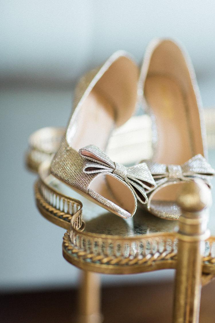 Peep Toe Bow Heels Shoes Bride Bridal Gold Sparkle Pink Glamour Wedding https://emilyhannah.com/