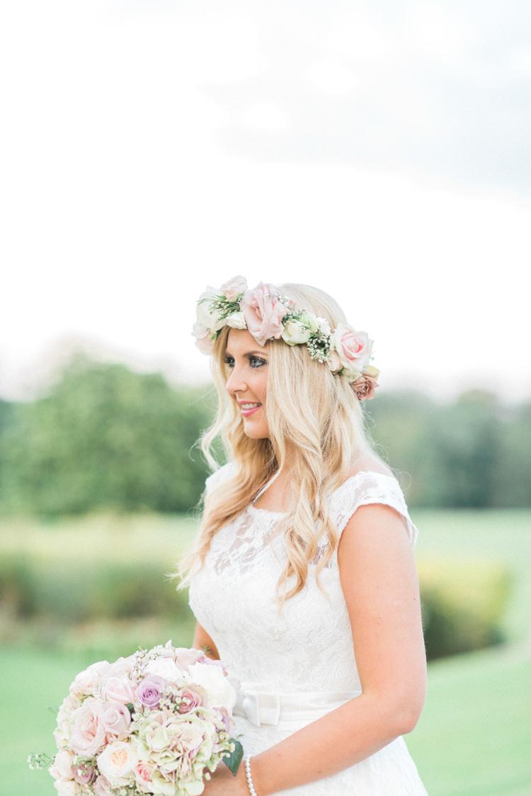 Flower Crown Bride Bridal Headdress Gold Sparkle Pink Glamour Wedding https://emilyhannah.com/