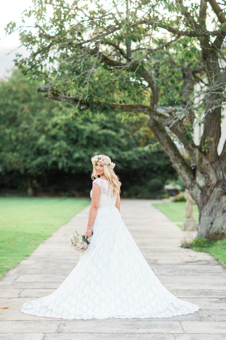 Justin Alexander Lace Dress Bride Bridal Gown Gold Sparkle Pink Glamour Wedding https://emilyhannah.com/