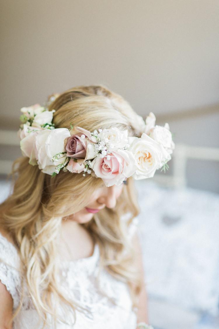 Flower Crown Headdress Floral Bride Bridal Rose Gold Sparkle Pink Glamour Wedding https://emilyhannah.com/