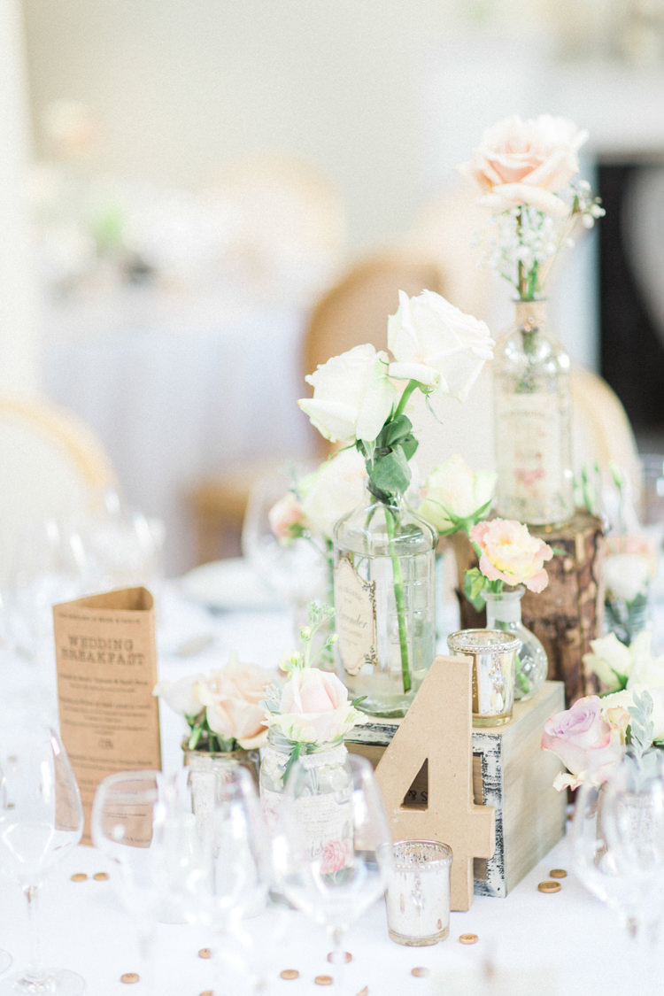 Centrepiece Decor Table Flowers Bottles Crates Wooden Number Gold Sparkle Pink Glamour Wedding https://emilyhannah.com/
