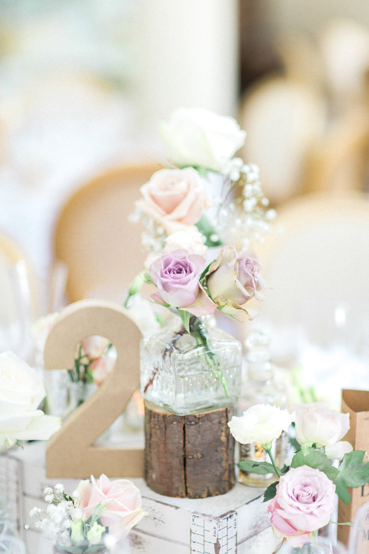 Wooden Crate Decor Centrepiece Table Flowers Bottles Roses Gold Sparkle Pink Glamour Wedding https://emilyhannah.com/