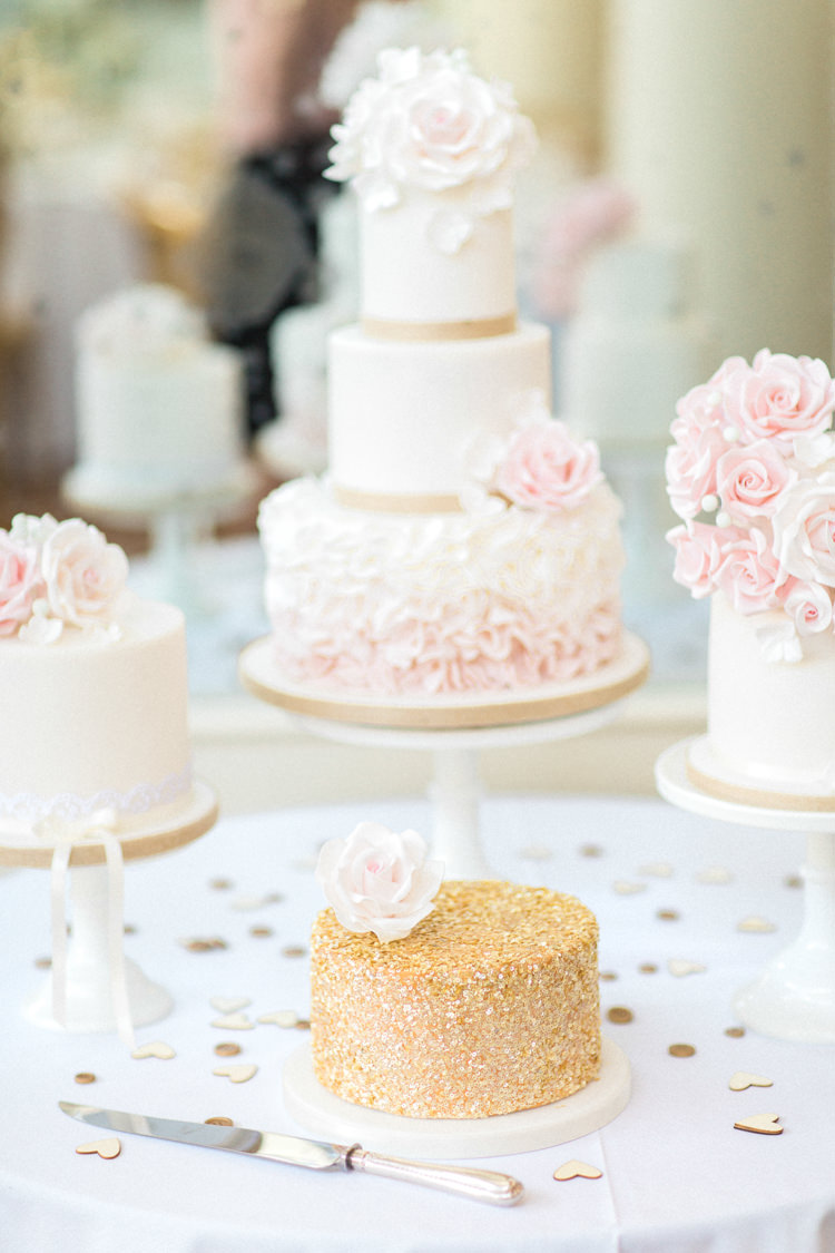 Cake Table Desserts Floral Ruffle Gold Sparkle Pink Glamour Wedding https://emilyhannah.com/